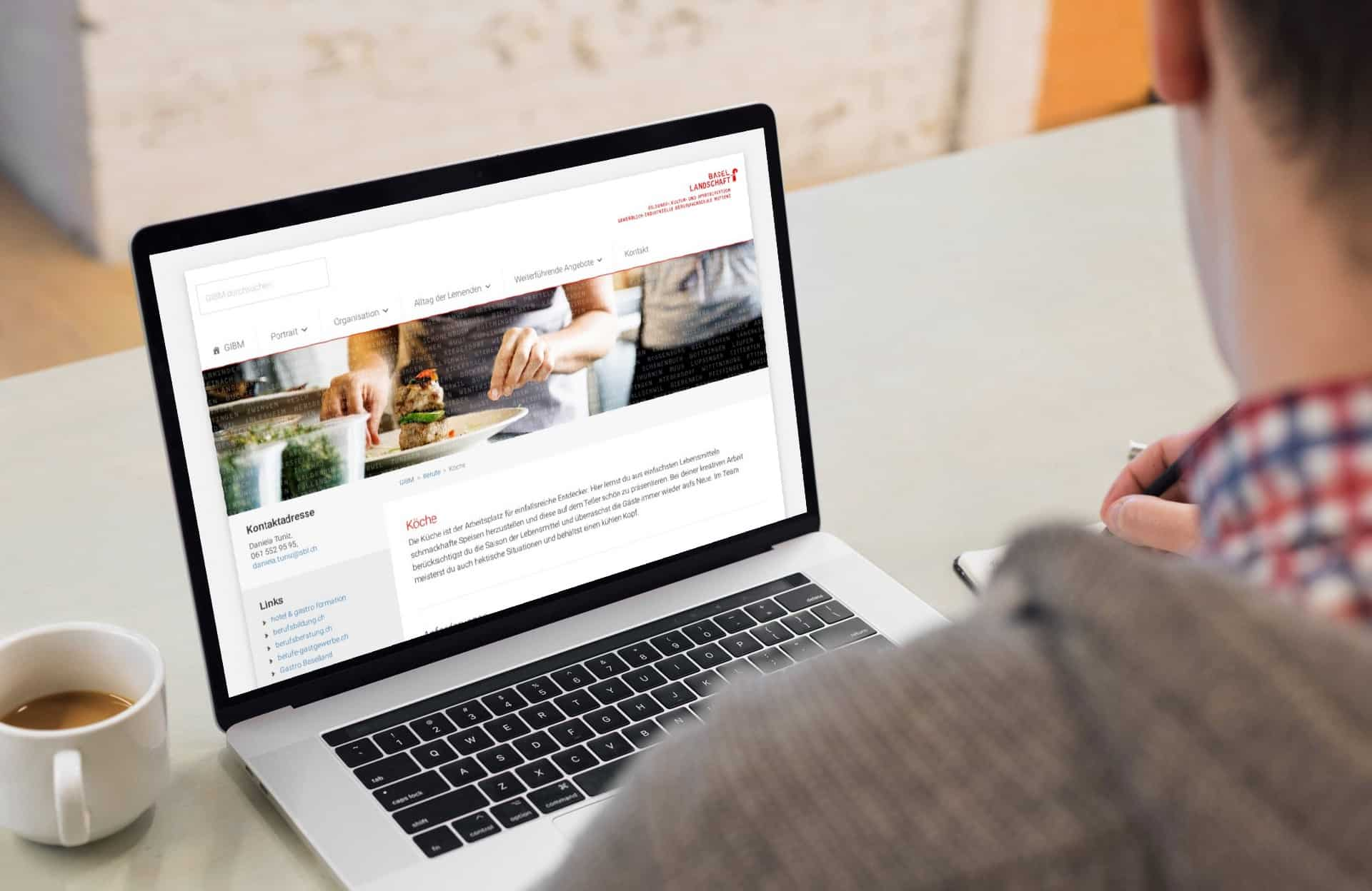 Mockup Webdesign für die GIB Muttenz