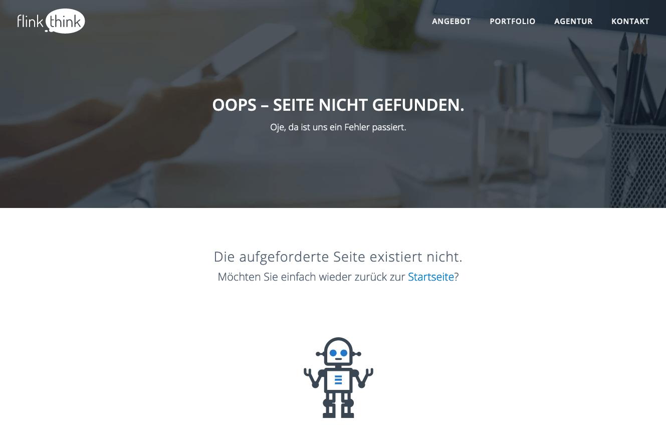 404 Fehlerseite von flink think
